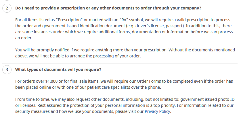 Prescription Policy from One Web Drugstore